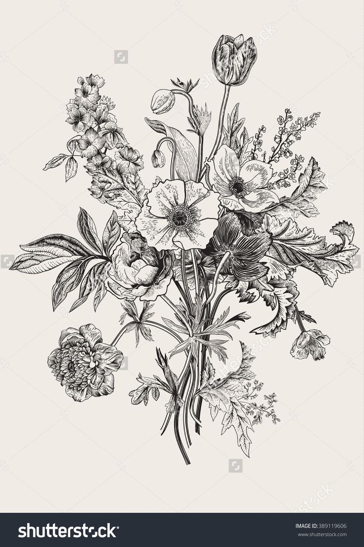 Victorian Bouquet. Spring Flowers. Poppy, Anemones, Tulips ...  Victorian Bouqu...