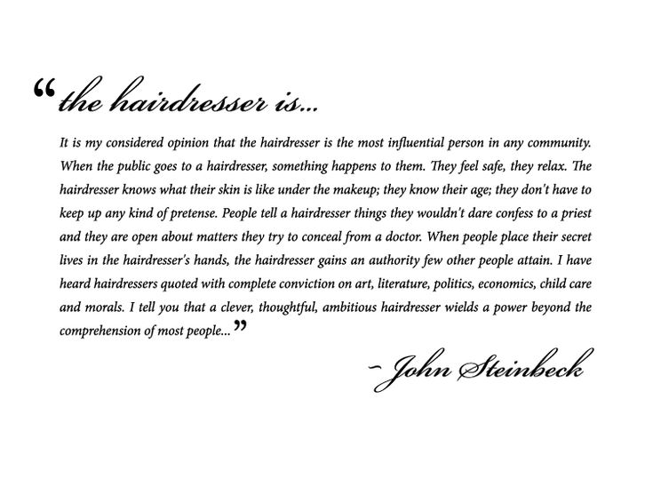 So true.. I Love this. 'The Hairdresser is...""