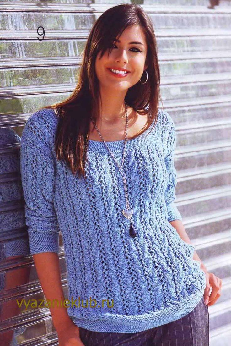 Пуловер с ажурным узором для женщин - Вязание спицами для женщин - Каталог файлов - Вязание для детей