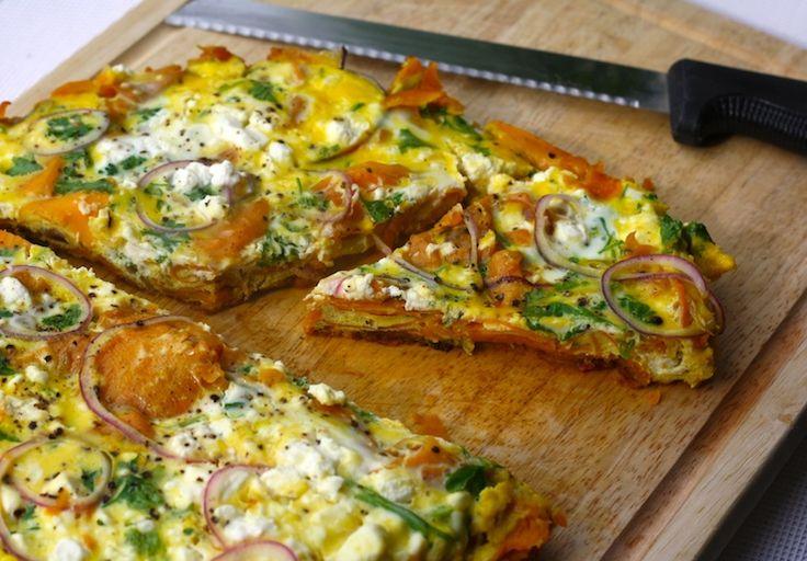 Tortilla met zoete aardappel, ei en feta.