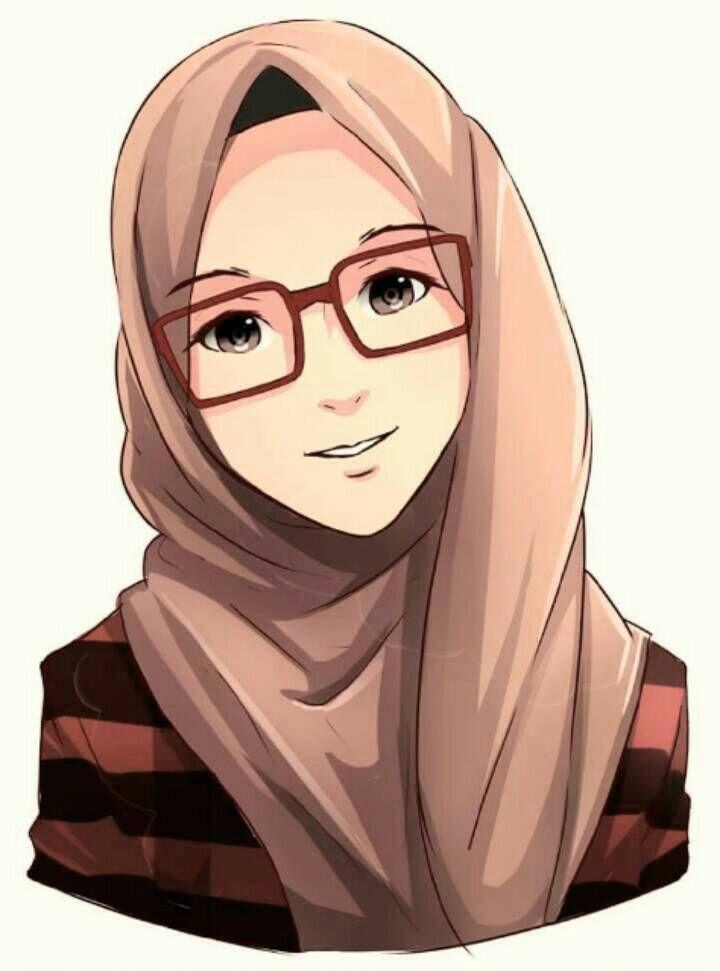 Gambar Kartun Wanita Muslimah Tersenyum Gambar Kartun Muslimah Berkacamat 12 Animasi Kartun Gambar Anime