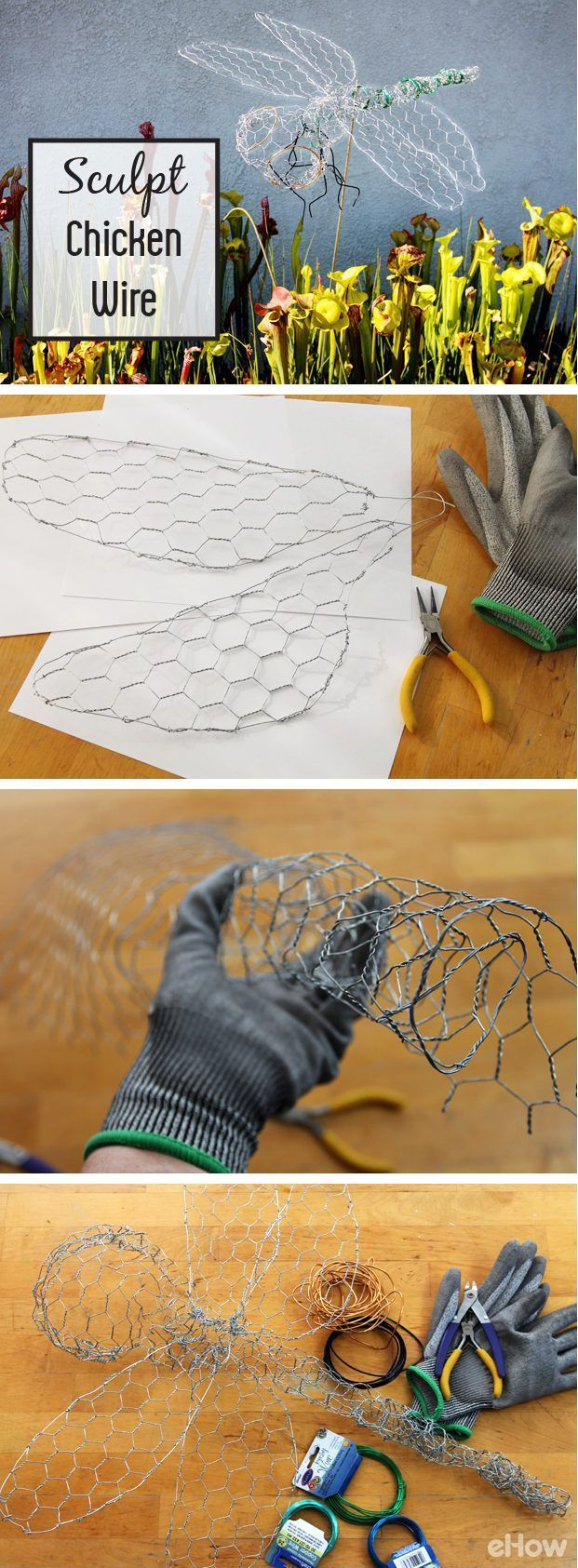 "Sculpting chicken wire is a great way to add fun decor to your yard! Make a dragonfly sculpture out of chicken wire for a decorative garden accent. A dragonfly is relatively easy and inexpensive to make, and it can be ""accessorized"" in any color palette you choose. Install it by a pond, pool or aquatic garden for extra charm. DIY instructions here: http://www.ehow.com/how_5635113_sculpt-chicken-wire.html?utm_source=pinterest.com&utm_medium=referral&utm_content=inline&utm_campaign=fanpage"