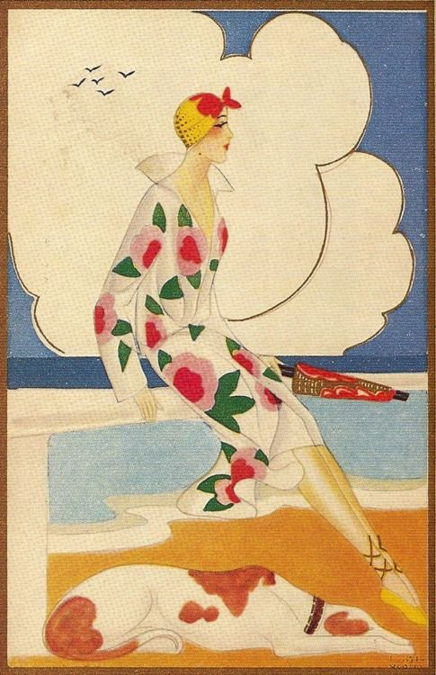 Art Deco illustration. 1920's flapper with dog at the seaside