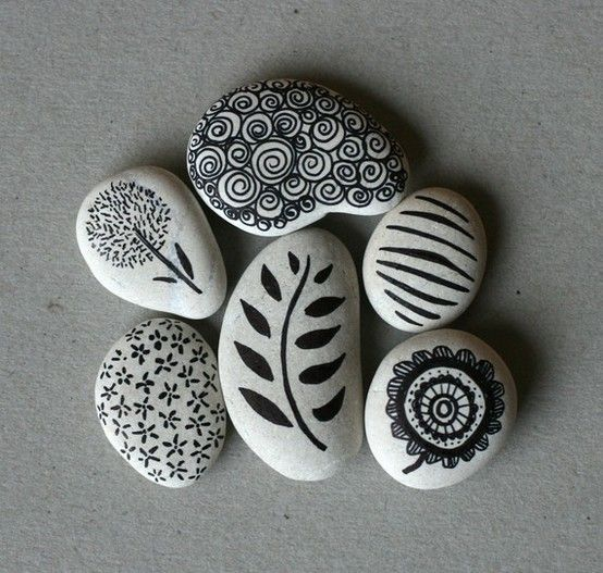 Not sure what I am going to do with a bunch of rocks, but I like this idea. Paper weight as a gift perhaps?