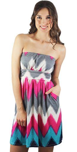 SWEET CHEVRON! Fuchsia And Teal Chevron Dress With Pockets. #fashion #summertrends #chevrondress