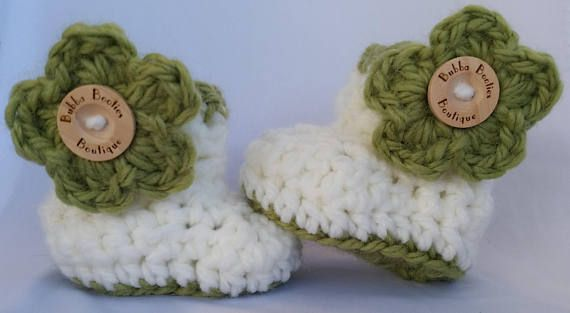 Handcrafted green and white Baby Booties with crocheted