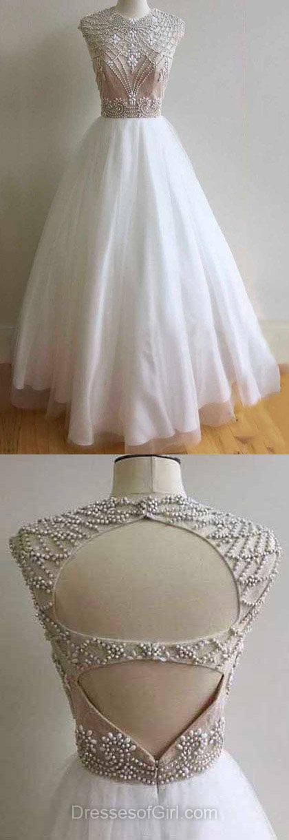 White Prom Dresses, Prom Ball Gowns, Long Formal Dresses, Ball Dresses 2018, Open Back Evening Gowns