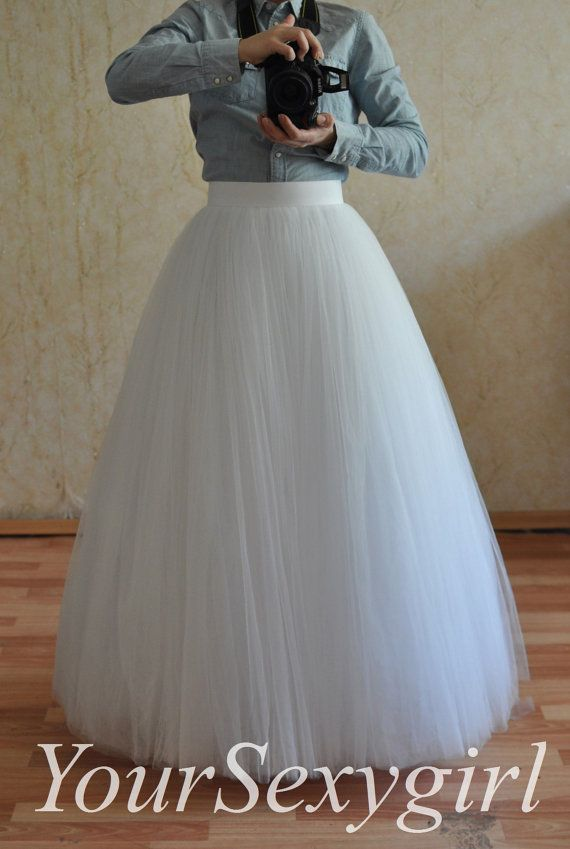 Adult Full Length White Long Tutu Skirt Maxi tutu by YouSexygirl