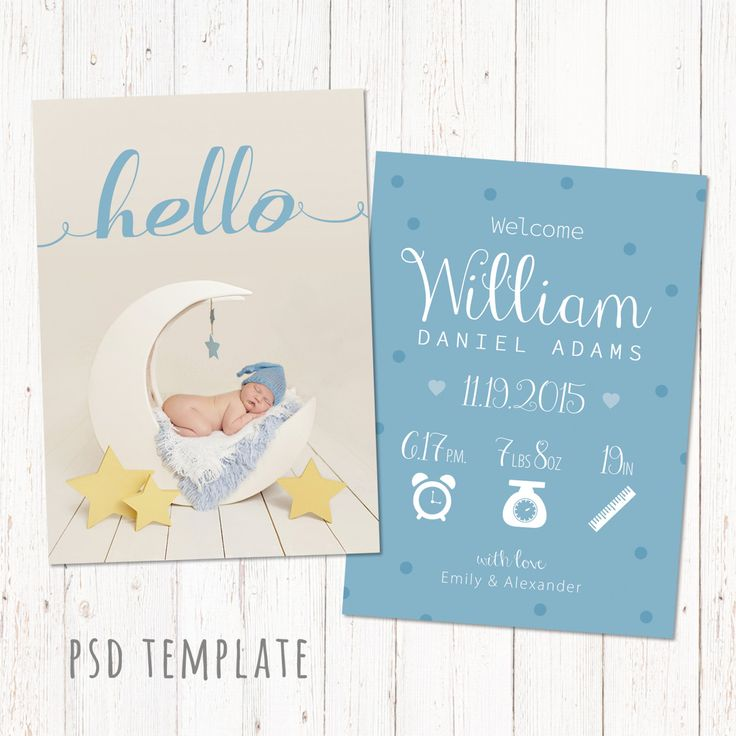Birth announcement template card. Digital baby boy birth card for instant download. Fully editable photoshop PSD files. Size 5x7. by PenguinGraphics on Etsy
