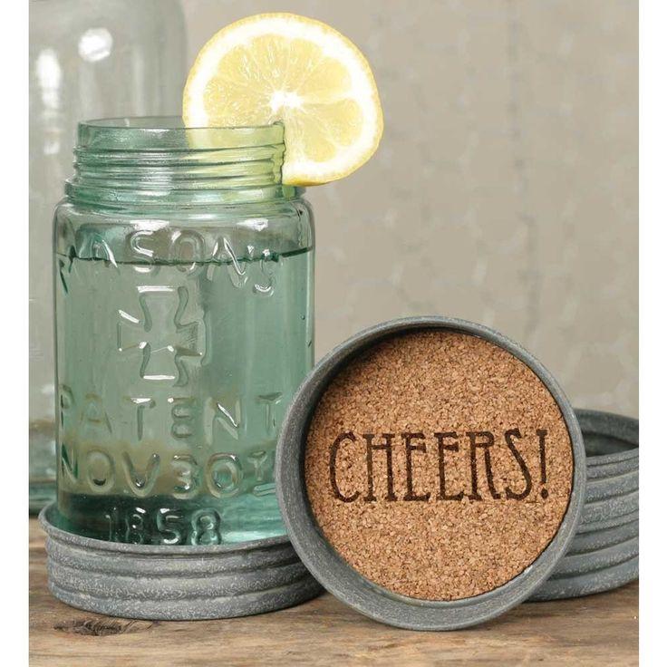 Farmhouse Rustic Mason Jar Lid Coasters-CHEERS-Set of 4
