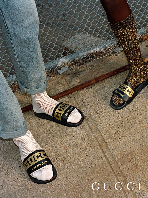 Leather slippers from Gucci-Dapper Dan