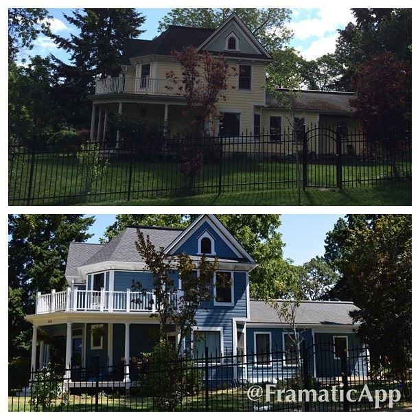 Top before bottom after ashley neff designs blue historical exterior paint colors by for Benjamin moore historical colors exterior