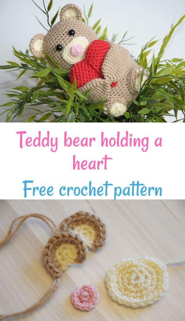 Crochet Teddy Bear Holding A Heart Crochet Crochet Toys