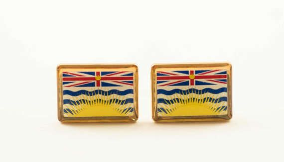 British Columbia Flag Cufflinks by LoudCufflinks on Etsy