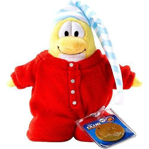 Disneys Club Penguin Series 2 Red Pajama Limited Edition 6.5 Plush (Includes Coin with Code)