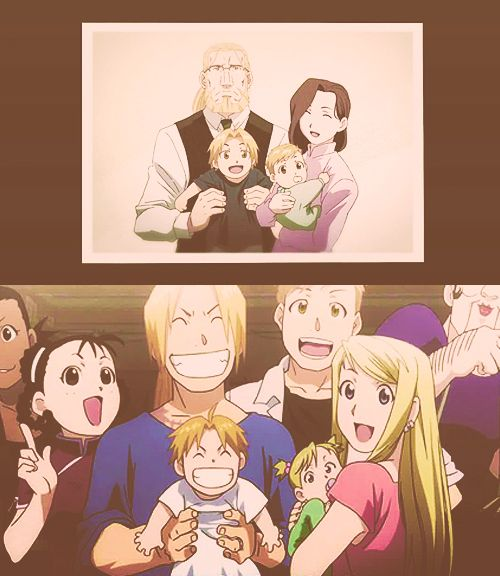 Fullmetal alchemist brotherhood awwwww..... Look at Ed and his son..... :,3 like father like son.....