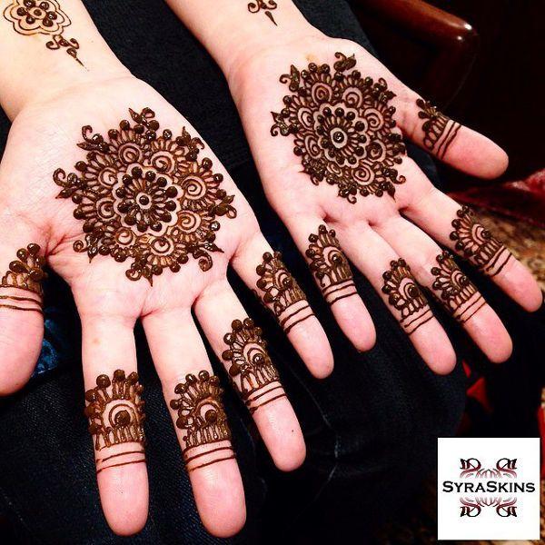 Indian Design - 'Palm Flowers' - http://mehndiyoyo.com/indian-design-blank-fingertips-photo/