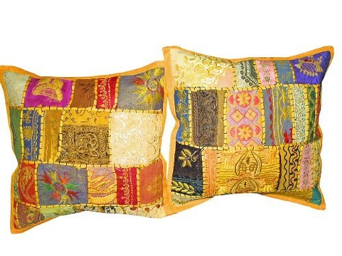"""2 Indian Pillow Shams Cushion Cover Yellow Patchwork India Toss Pillows Cover 16"""" by Mogul Interior, http://www.amazon.com/dp/B009LXG1FK/ref=cm_sw_r_pi_dp_cXOBqb17RCAYV$23.99"""
