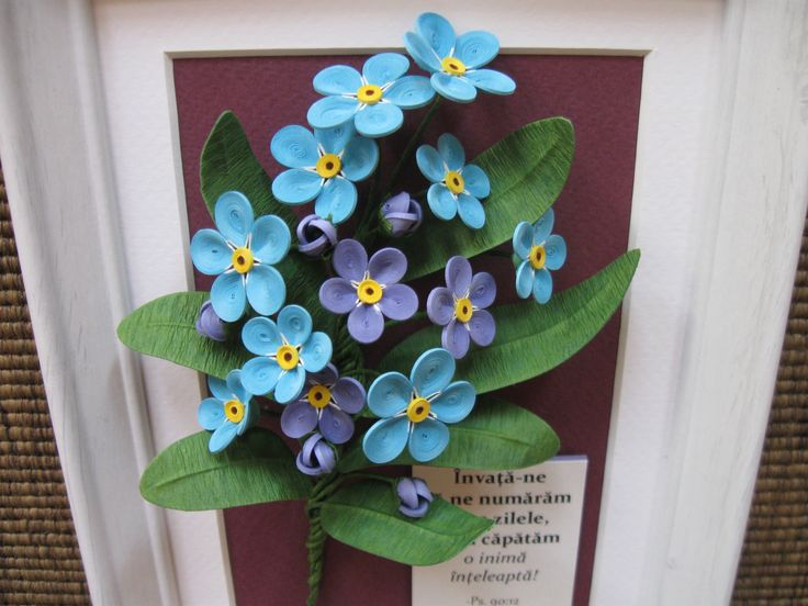 Quilled blue forget-me-nots (on a 15x20 cm frame)