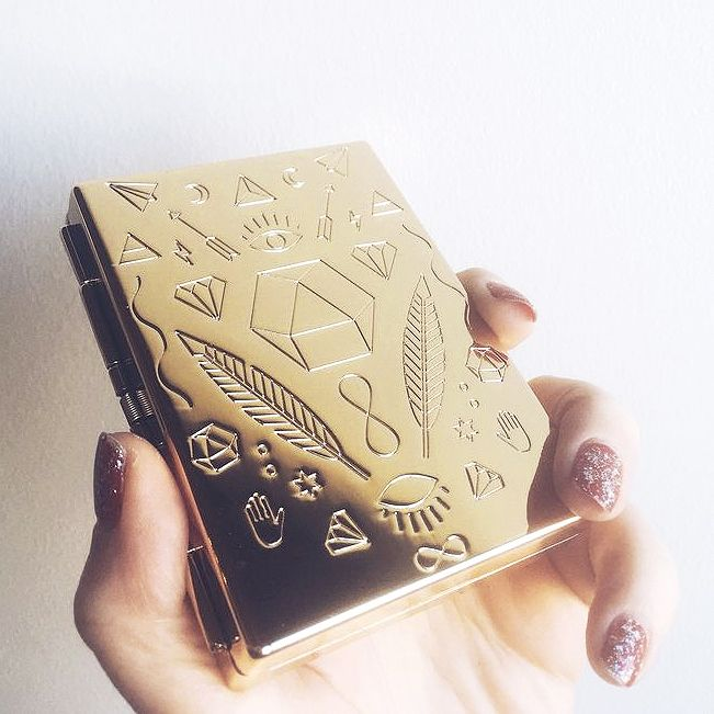 This golden card case / cigarette case is a game-changer guys. Sooooo handy! (We use them for cash and cards).