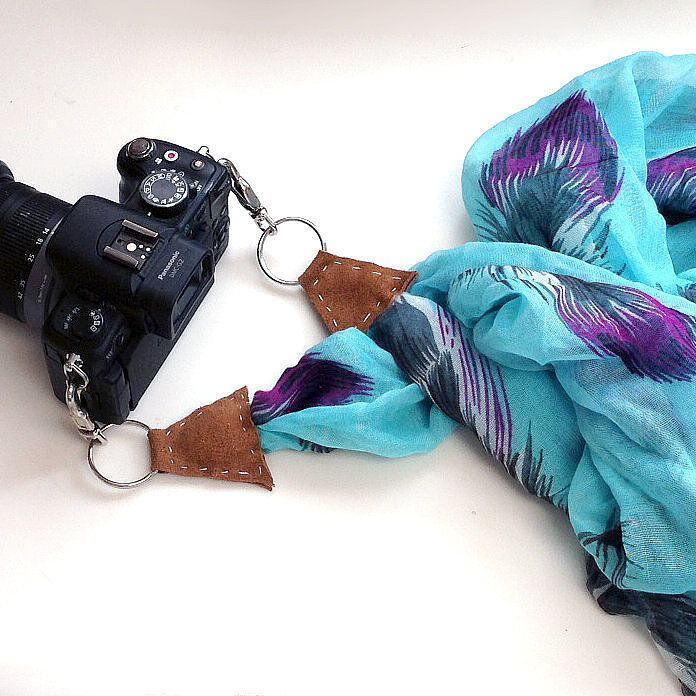 Any photographer will love this personalized scarf camera strap. Photo: Sarah Lipoff