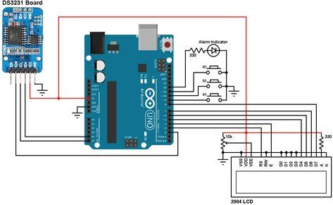 Arduino real time clock with 2 alarm functions and