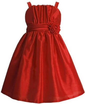 Bonnie Jean Girls 7-16 Shantung Dress with Pleated Bodice  $43.40    Dress: 100% polyester; netting: 100% nylon; exclusive of decoration  Machine Wash  Decorated with a red sash and appliqued flower  Machine wash cold, gentle cycle separately, wash inside out, do not bleach, line dry, do not iron  Lined  Zipper  Made in Sri Lanka