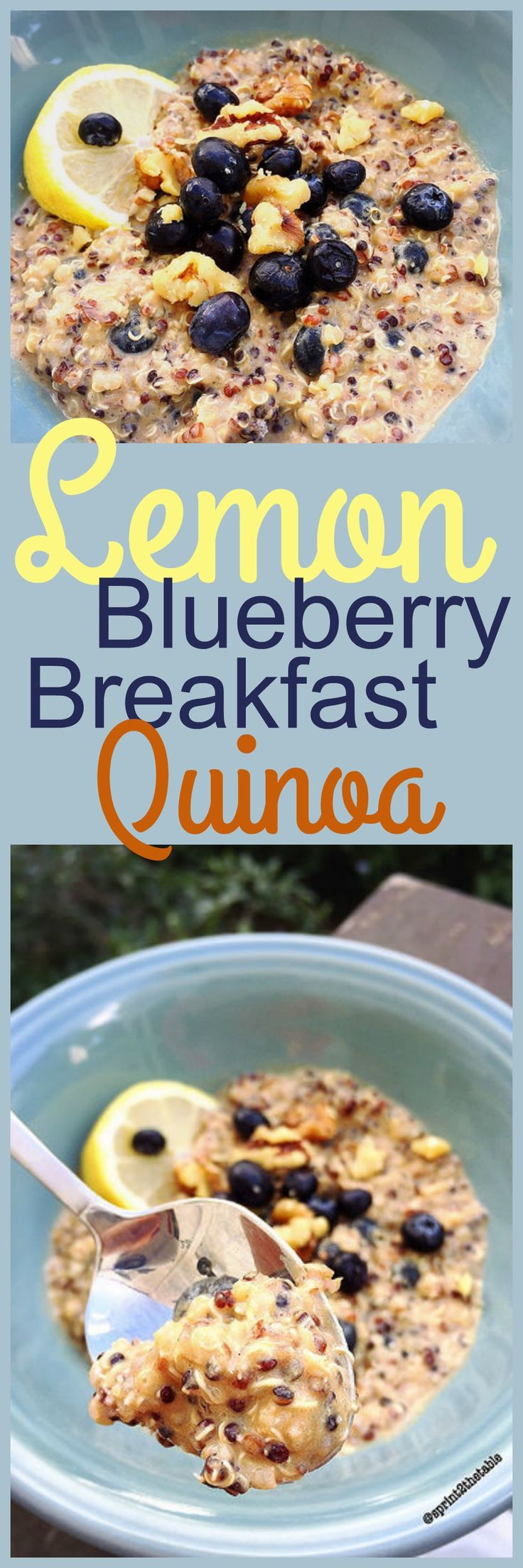 This breakfast quinoa is reminiscent of oatmeal, but I sweetened the deal by using vanilla protein powder, blueberries, and some Stevia.  --> Lemon Blueberry Breakfast Quinoa [Recipe] | Sprint 2 the Table
