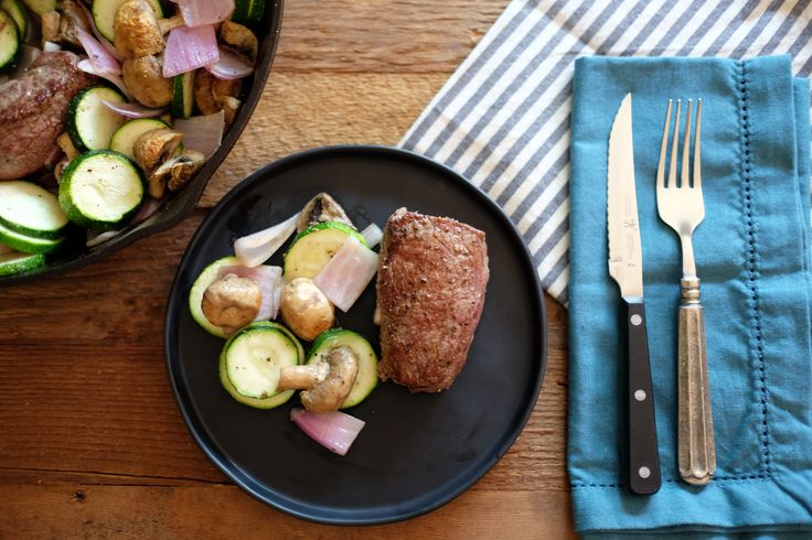 For this one pan steak dinner, you'll have a steak dinner with a side of vegetables perfectly cooked in about 15 minutes. It's an easy week night meal.