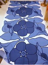 Vallila, Finland. Howard Smith design Vintage 80's Fabric. Big Flowers in Blue
