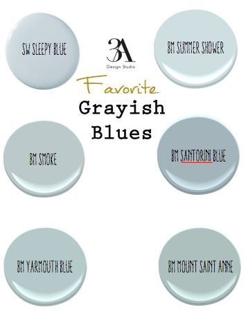 Soft blues have the ability to make a space feel tranquil. My favorite soft blues are those that have a grayish undertone. In my opinion, they look more sophisticated than that of a baby blue. Depending on the lighting and the other colors in the room, some may come across more gray or green. With that said, here are my favorite grayish blue paint colors. Sherwin Williams- Sleepy Blue Benjamin Moore- Summer Shower Benjamin Moore- Smoke Benjamin Moore- Yarmouth Blue Benjamin Moore- Sant...