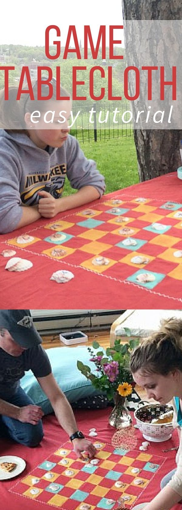 Turn a plain tablecloth or sheet into a great game picnic tablecloth with this easy tutorial. Great for the summer, gifts, and even rainy days!