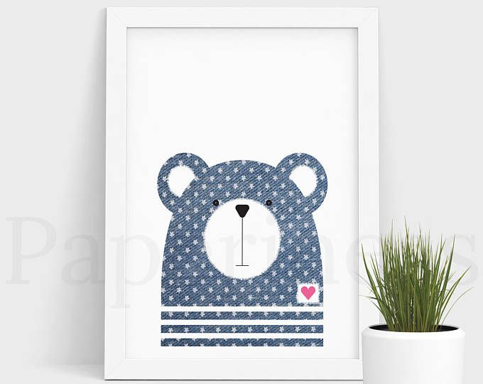 Bear Print, Baby Animal, Denim With Flowers, Large Printable Poster, Digital Download, Nursery Art, Nursery Wall Art, Baby Room Art