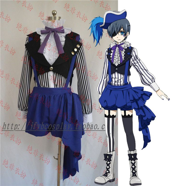 ==> [Free Shipping] Buy Best Black Butler Ciel Phantomhive Ciel Cosplay Set Circus Costume Blue Overall Black 5 in1 shirtwaistcoatshort pantshattie Online with LOWEST Price | 32319116384