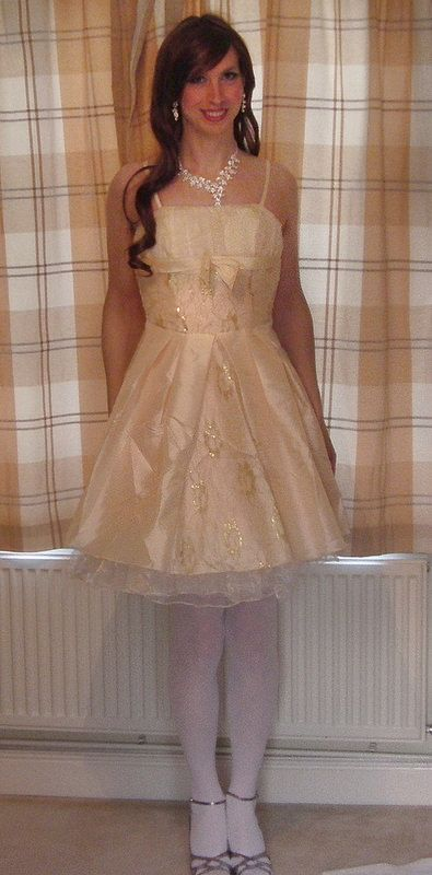 Peach Taffeta & Lace Dress