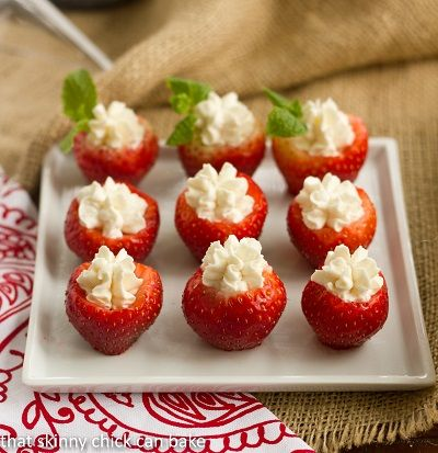 Mascarpone Filled Strawberries~ 16 large strawberries, 1 1/2 cups Mascarpone cheese, 1/4 cup cream, 2 tablespoons sugar, 1 teaspoon vanilla.