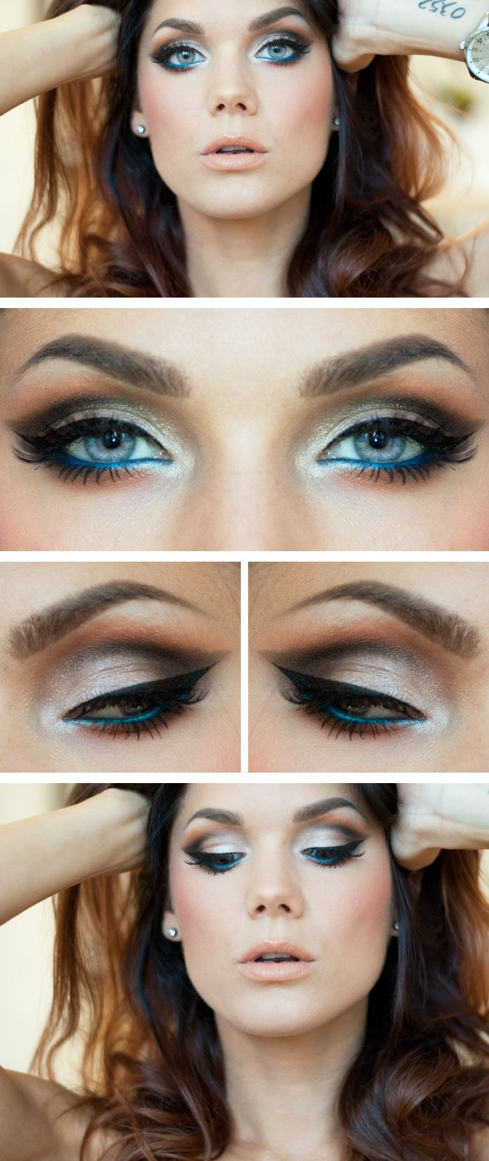 Make a Change by Linda Hallberg ( a beautiful smokey eye with a pop of teal or is it cerulean blue? eyeliner in the lower lashline. Perfect for summer!) #makeup