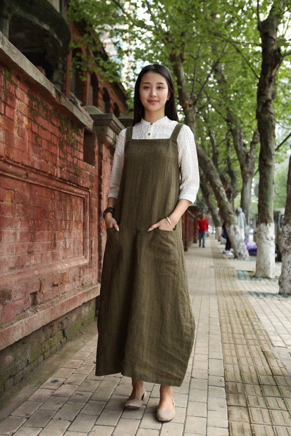 a58f7c6ed40 linen halter apron dress in green very special pinafore dress two pockets.  maxi length. wrap style tie at the back comfortable linen fabric Size You  may ...