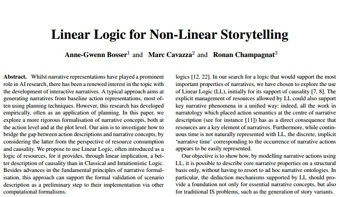 Linear Logic for Non-Linear Storytelling