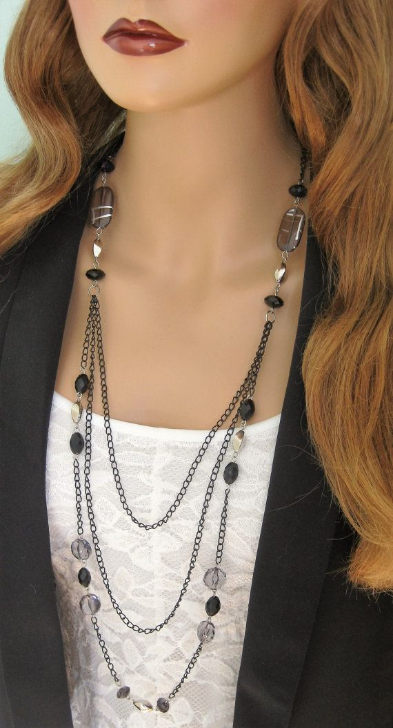 Long Black Beaded Necklace, Multistrand Black Chain Necklace, Beaded Necklace… Más