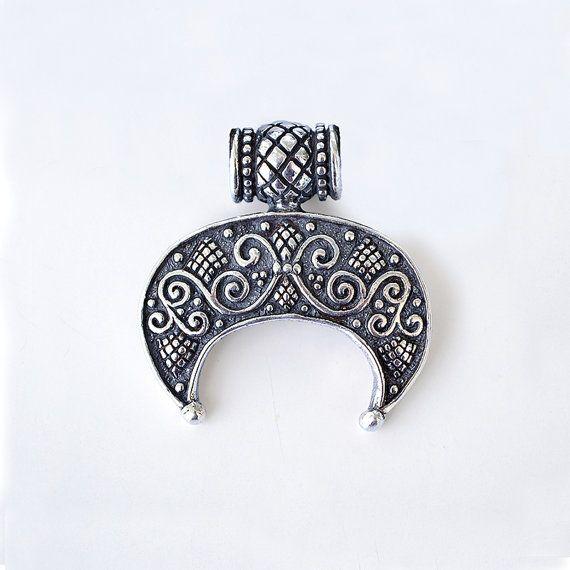 Lunula pendant . Moon Crescent Necklace pendant jewelry. LUNITSA. Slavic pendant Moon, sterling silver. Feminine charm