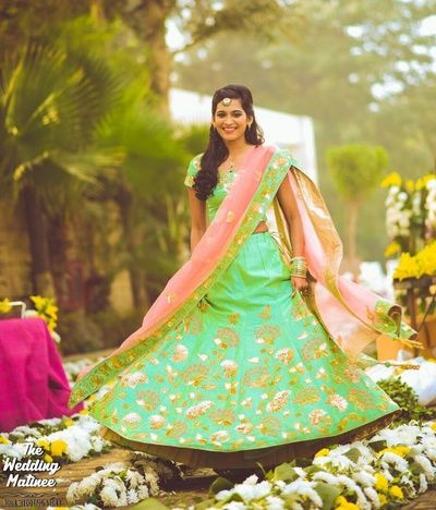 Sangeet Lehengas - Lime Green Lehenga   WedMeGood   Lime Green Lehengs with White and Gold Embroidery and Pink Net Dupatta #wedmegood #indianbride #indianwedding #lehenga #limegreen #pink #dupatta #bridal