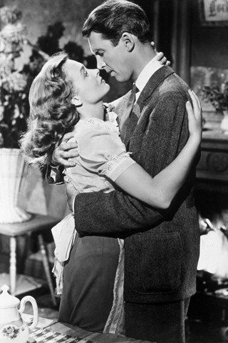 """""""It's A Wonderful Life"""" with James Stewart & Donna Reed - A 1946 American Christmas drama film produced and directed by Frank Capra.  A man is shown by his guardian angel all the lives he has touched - & how different life in his community would be if he had never been born."""