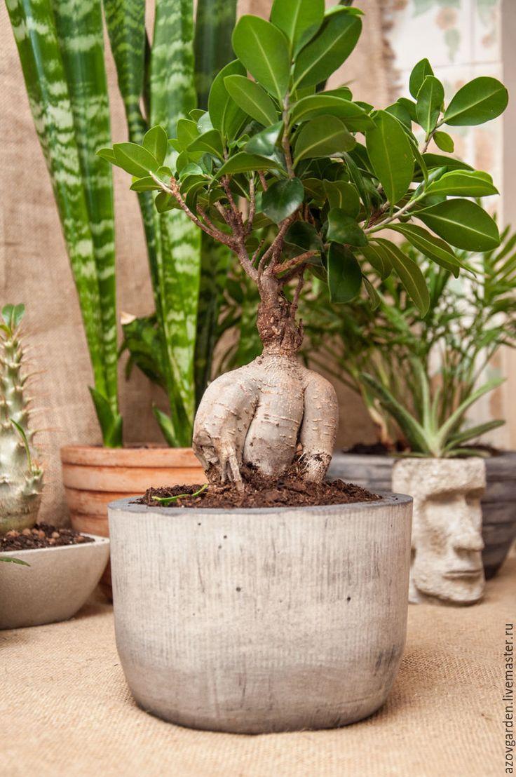Купить Горшок серый из бетона для растений в стиле лофт - серый, горшок для цветов, из бетона