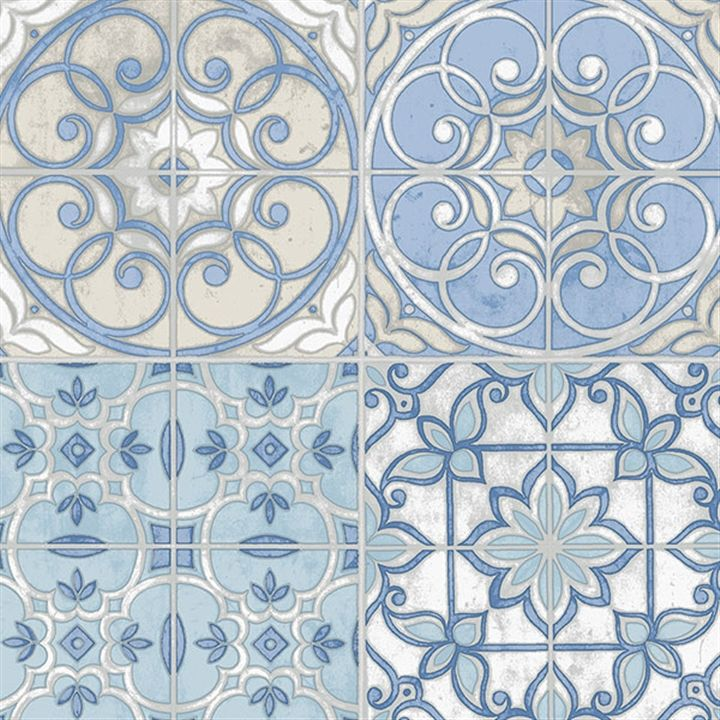 This wallpaper is inspired by vintage spanish tiles. | AmericanBlinds.com