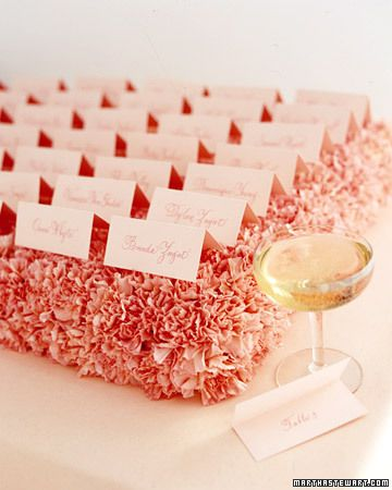 Placing seating cards on top of a bed of carnations. so pretty, lush, & simple!