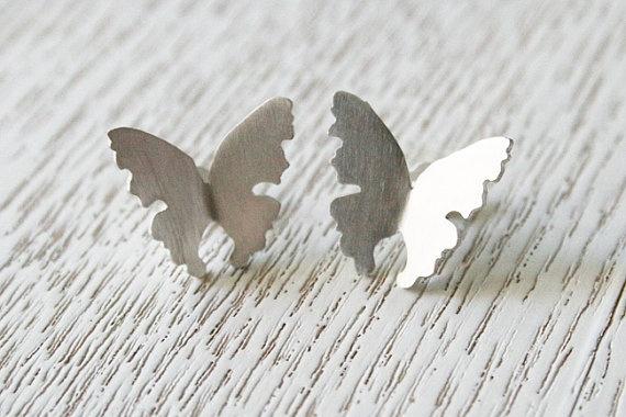 Butterfly Earrings. Silver Butterfly Stud Earrings by CaiSanni via Etsy.