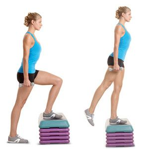 Grab a pair of five-to 10-pound dumbbells, stand in front of a bench or step, and place your left foot firmly on the step (a). Press down with your left heel and push your body up until your left leg is straight (b). Slowly lower back to the starting position. That's one rep. Do all reps with the left leg, then repeat with the right.