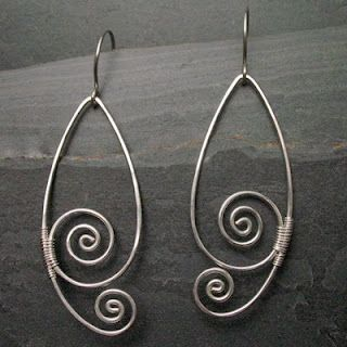 Simple spiral woven wire earrings