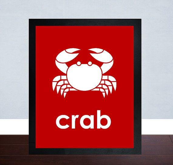 Crab Art Print Nursery Art Babys Room Art Kids by mateoandtobias, $5.00